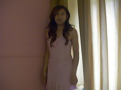 Asian Amateur Crossdresser In Pink Dress