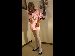 Pink Satin Robe Black Corset with Stockings